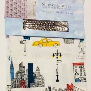 New York City Fabric Shower Curtain with Hooks